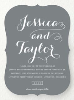 simple slate grey wedding invites
