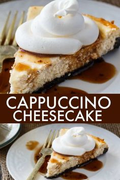 Cappuccino Cheesecake - Rich creamy cappuccino flavoured cheesecake filling is nestled on top of a chocolate Oreo crumb crust. Mini Desserts, Easy Desserts, Delicious Desserts, Dessert Recipes, Dessert Ideas, Cappuccino Cheesecake Recipe, Cheesecake Day, Cheesecake Recipes, Oreo Dessert