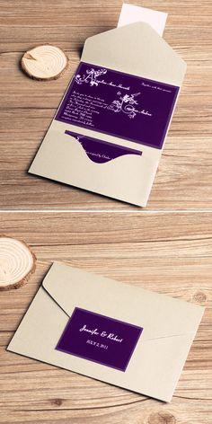 Purple and Gray Rustic Pocket Wedding Invitations//