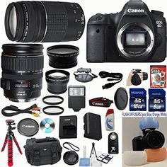 Canon EOS 6D 20.2 MP CMOS Digital SLR Camera w/ 3.0-Inch LCD w/ Canon 28-135mm IS USM Lens Celltime Exclusive Bundle w/ Canon 75-300mm III Zoom Lens + 15pc Accessory Kit - International Version
