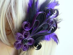 Purple and Black Halloween Fascinator / Purple Fascinator / Purple & Black Feather Fascinator / Halloween Wedding Hair Accessory. $29.00, via Etsy.