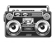 Boombox, Tatuaje Grim Reaper, Radio Drawing, Radios Retro, Vintage Sticker, Rock And Roll, Arte Do Hip Hop, Tape Recorder, Cassette Recorder