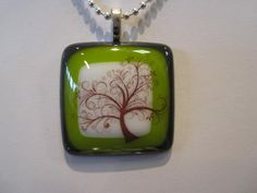 Pretty Tree Fused Glass Pendant