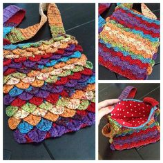 Crocodile stitch. Looks like that yarn I already have. Make a smaller but similar bag?