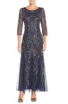 Main Image - Pisarro Nights Embellished Mesh Gown (Regular & Petite)