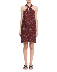 ETOILE ISABEL MARANT Aba Floral Voile Shift Dress, Burgundy. #etoileisabelmarant #cloth #