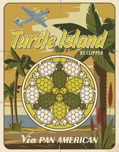 Turtle Island Vintage Poster  Geometric Art by Henk Wyniger