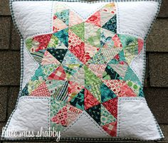 like the colors, pattern and stitching! quilted pillow by little miss shabby