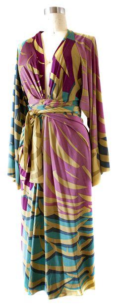 {Print Maxi Kimono-Style Silk Dress} ISSA London via Tradesy