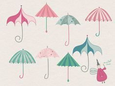 Colorful Umbrellas Clip Art by PixieDustStd on Etsy, $3.00