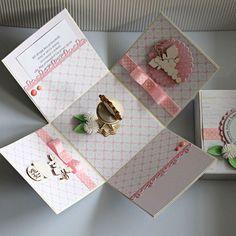 """Exploding box, """"pudełko eksplodujące"""" - pamiątka I Komunii Św. dla dziewczynki. Exploding Boxes, Gift Wrapping, Gifts, Gift Wrapping Paper, Presents, Wrapping Gifts, Gift Packaging, Gifs, Wrapping"""