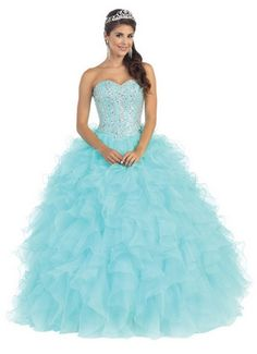 Long Quinceanera Big Sequins Top Short Sleeve Jacket Ball Gown - The Dress Outlet - 1