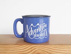 Adventure Awaits Mug 15 oz Campfire Stoneware Speckled Mug Handlettering WildandFreeDesigns