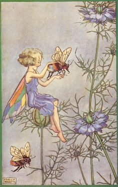 Fairy and friendly bee, artist molly brett Magical Creatures, Fantasy Creatures, Fantasy Kunst, Fantasy Art, Illustrations, Illustration Art, Elfen Fantasy, Animal Painter, Blog Art