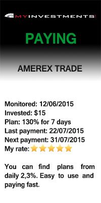 Payment received from Amerex Trade – 22/07/2015