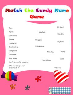 babyshower games | Free Printable Match the Candy Bar Name Game for Baby Shower