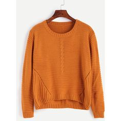 Orange High Low Hollow Sweater ($19) ❤ liked on Polyvore featuring tops, sweaters, orange top and orange sweater