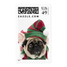 Christmas Pug Elf Postage