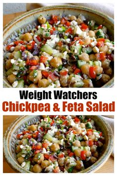 This easy healthy WW chickpea & feta salad is so flavorful and satisfying. # Food and Drink salad Weight Watchers Chickpea Feta Salad Weight Watchers Salat, Plats Weight Watchers, Weight Watchers Meal Plans, Weight Watcher Recipes Easy, Weight Watchers Sides, Weight Watchers Vegetarian, Weight Watcher Dinners, Chickpea Feta Salad, Feta Salat