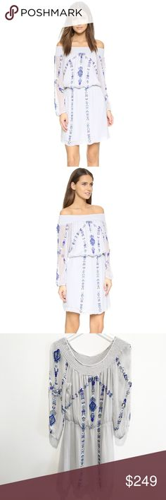 """parker • lilac beaded off shoulder boho dress • s Bohemian cool dresses up in the form of Parker's romantic beaded design, cut with an au courant, off-the-shoulder neckline.   DETAILS • smocked off-the-shoulder neckline • sheer long sleeves • elasticized cuffs • allover beaded embellishment • lined  COLOR • Bluebell (grayish light blue)  SIZE + FIT • size S • 38"""" bust, 26"""" waist (unstretched), 40"""" hips, approx 34"""" length, 22"""" sleeves  MATERIAL • crinkled chiffon • 100% viscose  • lining…"""