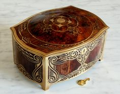 Wooden Art Nouveau Jewelry Box, with Key