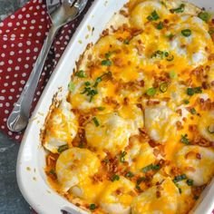 Cheddar Bacon Ranch Pierogi Bake - 4 Sons 'R' Us Frozen potato pierogi get a facelift in a casserole dish with the help of savory bacon, tangy cheddar cheese, and ranch seasoning. Perogi Casserole, Casserole Dishes, Casserole Recipes, Crockpot Recipes, Cooking Recipes, Brocolli Casserole, Stuffing Casserole, Vegetable Casserole, Pasta Dishes