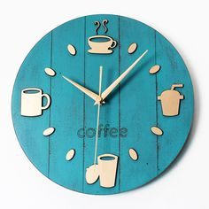 New Retro Garden Leisure and creative coffee cup wall clock saat decorations for home clock mechanism digital clock duvar saati French Home Decor, Retro Home Decor, Unique Home Decor, Retro Kunst, Retro Art, Retro Vintage, 3d Wall Clock, Unique Wall Clocks, Home Clock