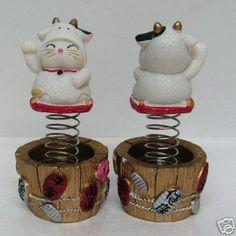 Maneki Neko 12 Zodiac Bobble Head Lucky Cat Cow | eBay