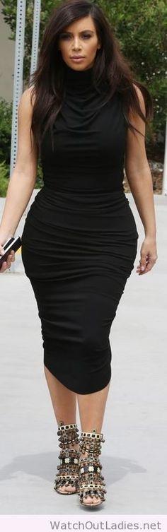 Kim Kardashian black ruched dress and beaded sandals