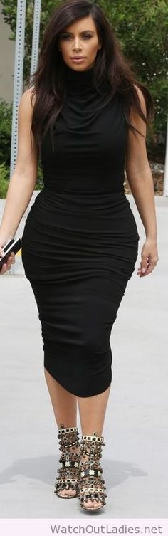 Kim Kardashian black ruched dress and beaded sandals