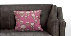 Hendrix, un coussin déco imprimé crâne coloris rose