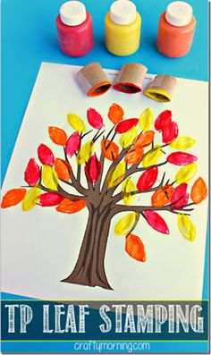 TP Stamped Fall Tree Craft for Kids #fallcraftsforkids #preschool