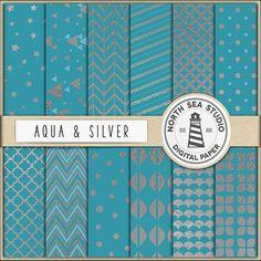 Aqua Blue Digital Paper Pack Scrapbook Paper by NorthSeaStudio