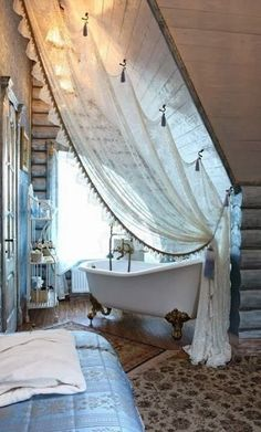 OH MY! love this bathroom, but I want to hang my curtains for the bed/lounge like this! LOVE THIS!
