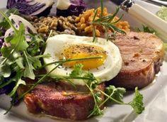 Smoked steaks with eggs Brunch, Pork, Eggs, Beef, Breakfast, Pork Roulade, Meat, Pigs, Egg