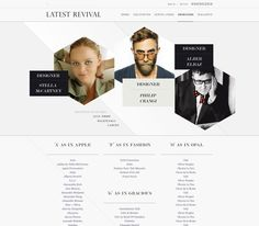 geometric/asymmetrical shapes break rectangular format -- fresh take on web layout