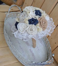 Sola Flower and Navy Burlap Bouquet Burlap by CountryWesternBlooms