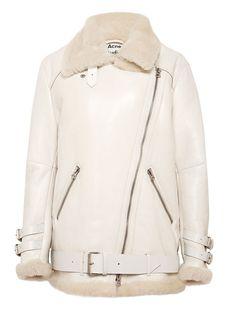 Acne Womens Velocity Lamb Fur Jacket Fur Bomber, Shearling Jacket, Bomber Jackets, Outerwear Jackets, Fur Collar Jacket, Oversized Jacket, Passion For Fashion, Sweatshirts, Lamb