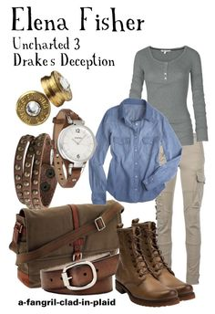 """""""Elena Fisher (Uncharted 3: Drake's Deception)"""" by a-fangirl-clad-in-plaid ❤ liked on Polyvore featuring Ralph Lauren Blue Label, Fat Face, FOSSIL, Zad, Frye and Bullet"""