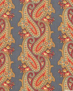 Caswell County - Interlaced Paisley Stripe - Persian Gray
