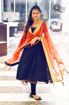 Beautiful #navyblue #anarkali #orange #dupatta