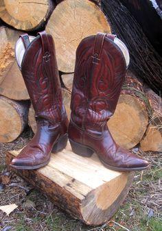 Vintage J. Chisholm Distressed Brown Cowboy Boots-Western Shit Kickin' Man's Boots 8.5D. $56.75, via Etsy.