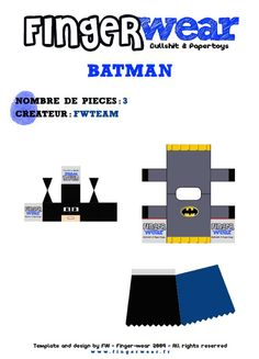 Blog_Paper_Toy_papertoys_MPD_FingerWear_Batman_template_preview Gordon Freeman, Ribbon Cards, Paper Ribbon, Christmas Paper Crafts, Paper Toys, Free Paper, Gift Packaging, Baby Shower Decorations, Templates