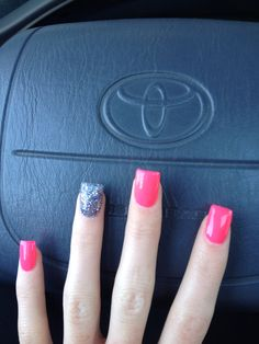 Hot pink with dark silver glitter accent gel nails :]