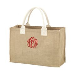 Our Bella Burlap Tote Bag is the perfect size for toting around all of your essentials in style.