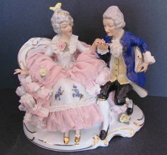 Vintage Sandizell Dresden Porcelain Lace Group Figurine Courting Couple | eBay