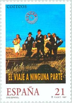 Stamp: Spanish Cinema - 'Journey to Nowhere' (Spain) (Spanish cinema) Mi:ES… Spanish, Cinema, Journey, Movie Posters, Pictures, Postage Stamps, The World, Door Bells, Voyage