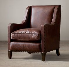 Blake Leather Club Chair Small Leather Chairs, Leather Club Chairs, Leather Dining Room Chairs, Living Room Chairs, Restauration Hardware, Office Guest Chairs, Big Comfy Chair, Teal Chair, Accent Chairs Under 100