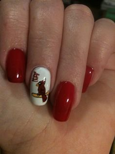 Louis Cardinals Nails - but do this with a Ball State Cardinal for football games! St Louis Cardinals Baseball, Stl Cardinals, Fingernail Designs, Cute Nail Designs, Sports Nail Art, Sports Pics, Hair And Nails, My Nails, Glam Nails