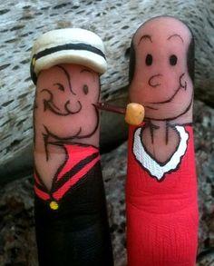 Finger Art, popeye the sailer. So funny :) Finger Fun, Finger Plays, Funny Fingers, How To Draw Fingers, Popeye And Olive, Popeye The Sailor Man, Finger Painting, Hand Art, Finger Puppets
